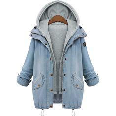 fd40daa2525 Большой размер женщины джинсовый пальто 2015 европейский бренд зима с длинным  рукавом джинсовой куртке негабаритных толстовка