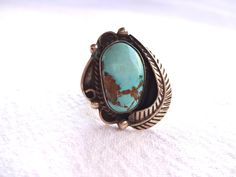 Vintage TAXCO MEXICO Sterling Silver 925 & Light Blue Turquoise RING, size 8