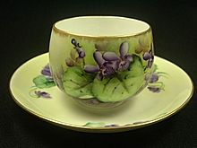 Hand Painted Violets Cup and Saucer, Gold Trim, Bavaria
