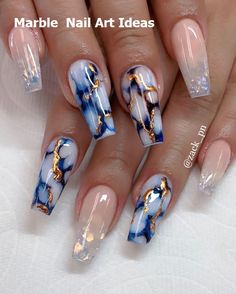 25 Marble Nail Design with Water & Nail Polish 25 Marmornagel Design mit Wasser & Nagellack Cute Acrylic Nail Designs, Marble Nail Designs, Marble Nail Art, Nail Art Designs, Nails Design, Long Nail Designs, Blue Acrylic Nails, Summer Acrylic Nails, Nail Summer