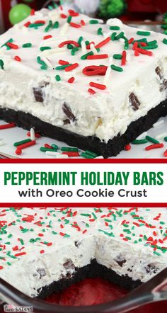 Peppermint Holiday Bars with Oreo Cookie Crust - one of our favorite Christmas Desserts! A yummy Peppermint-flavored marshmallow filling on top of a perfect Oreo Cookie crust. And did we forget to men Winter Desserts, Halloween Desserts, Best Christmas Desserts, Köstliche Desserts, Christmas Baking, Holiday Bars, Christmas Goodies, Christmas Treats, Christmas Cakes