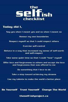 SELFish checklist