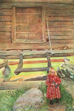 'Rättvik Girl By Wooden Storehouse', Watercolor by Carl Larsson (1853-1919, Sweden)