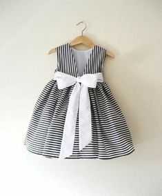 Items similar to Junior Bridesmaid dress in Deep Grey And White Stripes. on Etsy - Sandra Little Dresses, Little Girl Dresses, Flower Girl Dresses, Vintage Girls Dresses, Flower Girls, Little Girl Fashion, Kids Fashion, Baby Dress Design, Kids Frocks