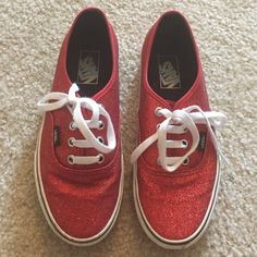 red sparkly vans for womens
