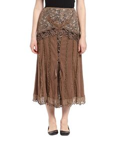 Another great find on #zulily! Brown Lace Embroidered Silk-Blend Midi Skirt by Pretty Angel #zulilyfinds