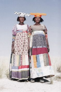 Women of the Herero tribe, Namibia in empire line patchwork dresses
