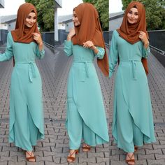 Brown & light sky bluish green - Another! Modest Fashion Hijab, Hijab Style Dress, Modern Hijab Fashion, Islamic Fashion, Abaya Fashion, Muslim Fashion, Fashion Wear, Fashion Outfits, Modele Hijab