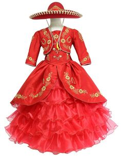Girls Mariachi Charro Dress with Hat and Jacket – ABC Fashion Kids Party Wear Dresses, Girls Dresses, Formal Dresses, Quince Dresses Mexican, Charro Dresses, Vestido Charro, Quinceanera Dresses, Jacket Dress, Special Occasion Dresses