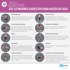 Los 10 mejores ejercicios para un #workout en casa. :)  Más info: http://midieta.com/es/%C3%A1lbum-de-fotos/los-10-mejores-ejercicios-para-hacer-en-casa