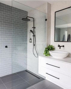 Luxury Bathroom Master Baths Paint Colors is extremely important for your home. Whether you choose the Luxury Master Bathroom Ideas or Luxury Bathroom Master Baths With Fireplace, you will make the best Small Bathroom Decorating Ideas for your own life. Ensuite Bathrooms, Bathroom Renos, Laundry In Bathroom, Master Bathroom, Master Baths, Bathroom Inspo, Small Bathrooms, Grey Floor Tiles Bathroom, Bathroom Remodeling