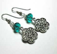 Jewelry Earrings, GreenTeal Czech Glass,Celtic Knot Charm, Antique Silver by SpiritCatDesigns on Etsy