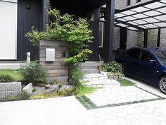 和モダンな外構 Garden Entrance, Entrance Gates, House Entrance, Outdoor Balcony, Outdoor Spaces, Outdoor Decor, House Landscape, Japanese Architecture, House Front