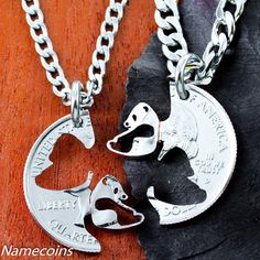 Panda BFF or Couples Necklaces, Asian Jewelry, Best Friend Gifts, Interlocking Couples Necklaces, Hand Cut Coin Moon Necklace, Initial Necklace, Necklace Set, Diamond Cross Necklaces, Diamond Solitaire Necklace, Panda Love, Panda Panda, Panda Bears, Couple Necklaces