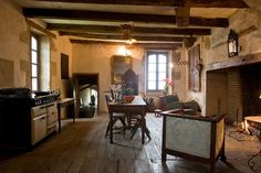 french cottage and loft mapleton French Country Cottage, French Country Decorating, Kitchen Seating Area, Fireplace Mirror, Wide Plank Flooring, Best Interior Design, Rustic Kitchen, Country Kitchen, Kitchen Dining