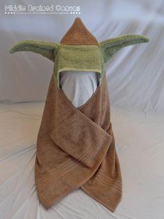 Yoda a inspiré Hooded bain serviette il sagit dune serviette de bain marron clair neuf que jai fait dans une serviette à capuchon pour