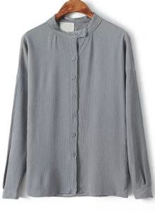 Grey Stand Collar Buttons Slim Blouse