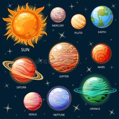 Planets Of The Solar System. Stock Vector - Illustration of collection, planets: 101572746 Arte Do Sistema Solar, Jupiter Planeta, Cartoon Spaceship, Solar System Art, Planet Drawing, Planet Vector, Astrology Numerology, Space Party, Class Decoration