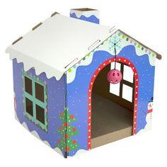 Winter Wonderland Cat Scratcher : Target Cardboard Cat House, Cardboard Playhouse, Christmas Gifts 2016, Christmas Cats, Cat Scratcher, Dog Rooms, Cat Crafts, Cat Tree, Cat Furniture