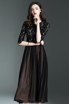 $94.99 Black Lace Patchwork Midi Dressproducts_id:(1000012969 or 1000012523 or 1000012674 or 1000012451)