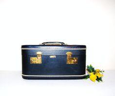 Vintage Train Case Midnight Blue by CheekyVintageCloset on Etsy, $26.00
