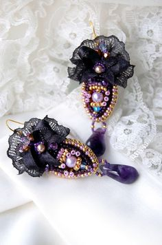Bead embroidered purple earrings amethyst by MadameElegant on Etsy, $62.00
