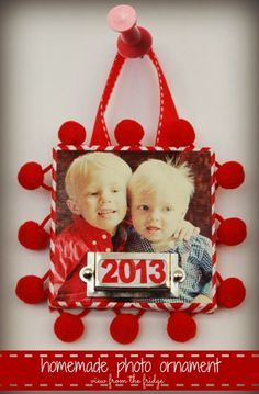 Red and White Handmade Christmas Ornament - used small canvas...could be what I need for our Christmas card ornaments??