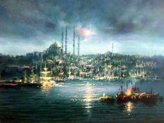 (Turkey) by Remzi Taskiran ). oil on canvas. born in Adiyaman in Turkey. Energy Pictures, Turkish Art, Aesthetic Gif, Islamic Art, Collage Art, Amazing Art, Oil On Canvas, Istanbul, Cool Pictures