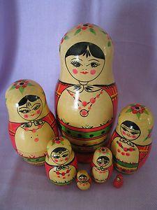 RARE Old Vtg Antique Russian Mordva Wooden Nesting Dolls Set of 7 | eBay