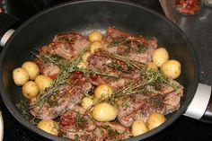 capretto arrosto con patate in padella