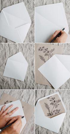 Einladung+Danksagung: Umschlag pimpen mit Einleger, Foto Brautpaar o.ä.