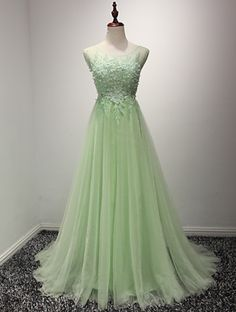 Light green tulle applique open backA-line long dresses,elegant evening dresses, Shop plus-sized prom dresses for curvy figures and plus-size party dresses. Ball gowns for prom in plus sizes and short plus-sized prom dresses for Dresses Elegant, Formal Dresses For Women, Formal Evening Dresses, Evening Gowns, Dress Formal, Formal Prom, Evening Party, Backless Prom Dresses, Tulle Prom Dress