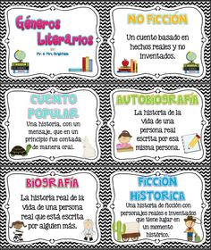 Reading genres posters in spanish (16 total) / carteles de los generos literarios.