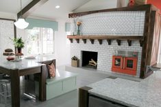 White Tile fireplace with cement bottom