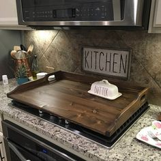 Black Stove Cover / Noodle Board / Noodle Board for Gas Stove / Electric Stove Cover / Glass Stove Top Cover / Wooden Oven Cover Farmhouse Kitchen Decor, Home Decor Kitchen, Diy Kitchen, Home Kitchens, Kitchen Layout, Kitchen Ideas, Kitchen Modern, Kitchen Hacks, Kitchen Cabinets