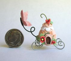 Handmade Miniature FAIRY WHIMSY CHARIOT WITH BUTTERFLY  - by C. Rohal #CRohal