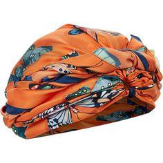 DEE DI VITA Orange Silk Farfelle Turban