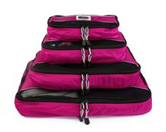 Pro Packing Cubes - 4 Piece Lightweight Travel Packing Cubes Set - Organizers and Compression Pouches for Carry-on Luggage Accessories Suitcase and Backpacking (Hot Pink) Carry On Suitcase, Carry On Luggage, Travel Luggage, Travel Bags, Luggage Suitcase, Travel Ideas, Packing Cubes, Travel Packing, Packing Tips