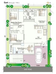 West Facing House Plan - Home Design 2bhk House Plan, Duplex House Plans, Best House Plans, Dream House Plans, Modern House Plans, House Floor Plans, North Facing House, West Facing House, Independent House