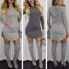 [ $22.00 ] Sexy light gray hooded dress L50691