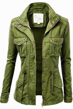 Light Green Military Jacket. #fall #layers