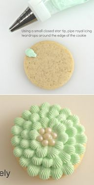 How to make scalloped-decorated cookies (Icing Bliss). Simple and pretty technique that would work great on cupcakes too!