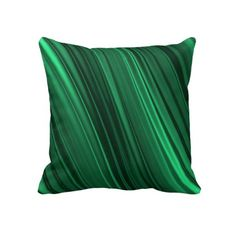 Emerald green satin shaded stripe pattern throw pillow or cushion. Also available as rectangular lumbar pillow. $59.95