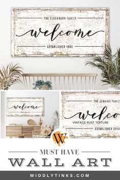 Add a welcoming touch of vintage farmhouse charm to your entryway with this rustic welcome sign featuring your family name and establis. Unique Wall Decor, Rustic Wall Decor, Western Decor, Country Decor, Wedding Gifts For Newlyweds, Newlywed Gifts, Modern Farmhouse Decor, Vintage Farmhouse, Farmhouse Signs