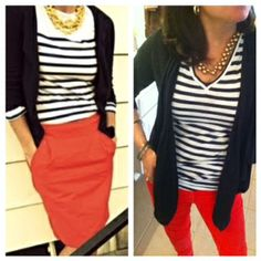 Pinterest Told Me To:  melon cords, black and white striped shirt, black cardigan.