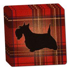 Scottie Dog on Red Plaid Scottish Terrier Thin Cork Coaster Set of 4