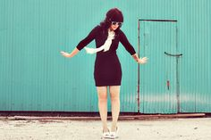A Beautiful Mess. I like this basic dress paired with the white moccasins.