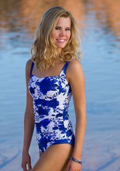 d19b705a6d6a89 Royal Blue Floral one-piece swimsuit from Divinita Sole Swimwear by DM  Fashion  swimsuit