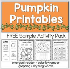 Engage your students with these fun pumpkin printables, perfect for fall!  - life cycle emergent reader  - color by number  - count and graph  - rhyming activity  Kindergarten and first pumpkin worksheets for Halloween #pumpkin #fall #printable #free