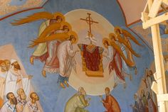 Fresco in the Raising of Lazarus Church Minsk, Belarus Christianity, Mystic, Princess Zelda, Archangel, Stained Glass, Saints, Faces, Painting, Fictional Characters